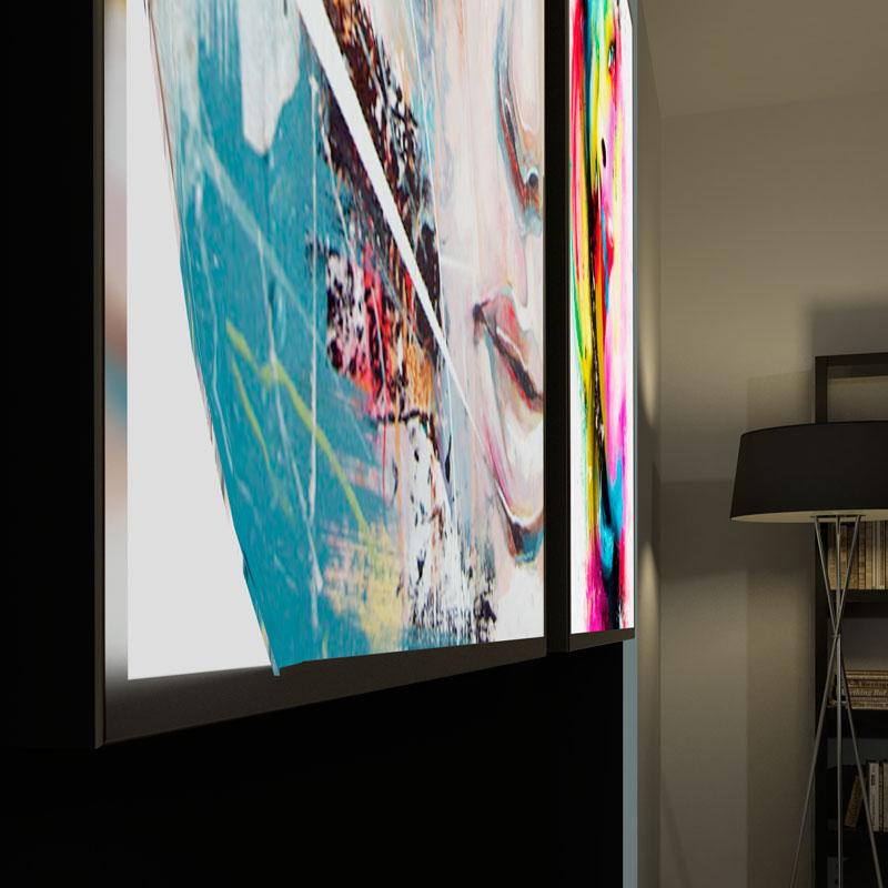 Pannelli retroilluminati led PH Unica con immagine sostituibile con sistema Spring-fit