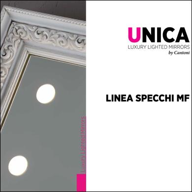 LineaMF specchi da parete illuminati con cornice personalizzata d'artigianato italiano
