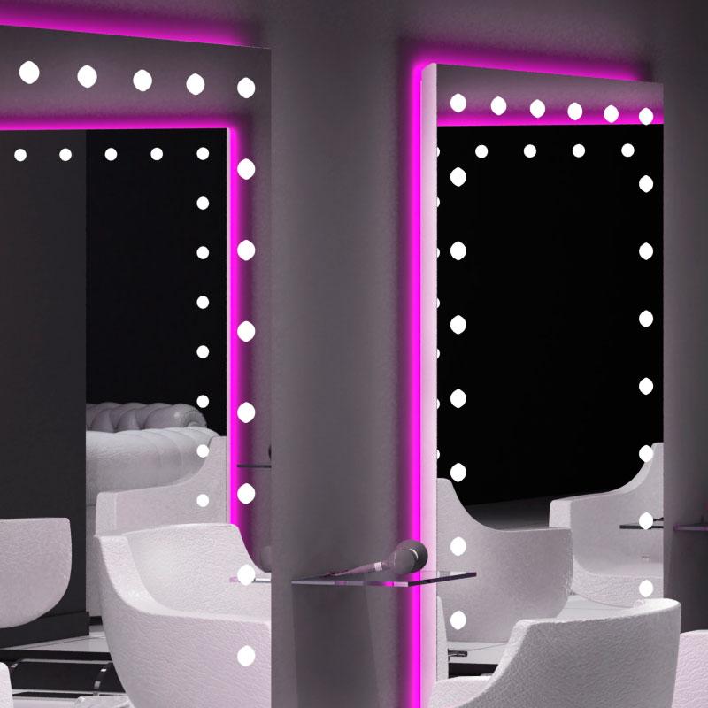 Specchiere retro illuminate per salone parrucchiere