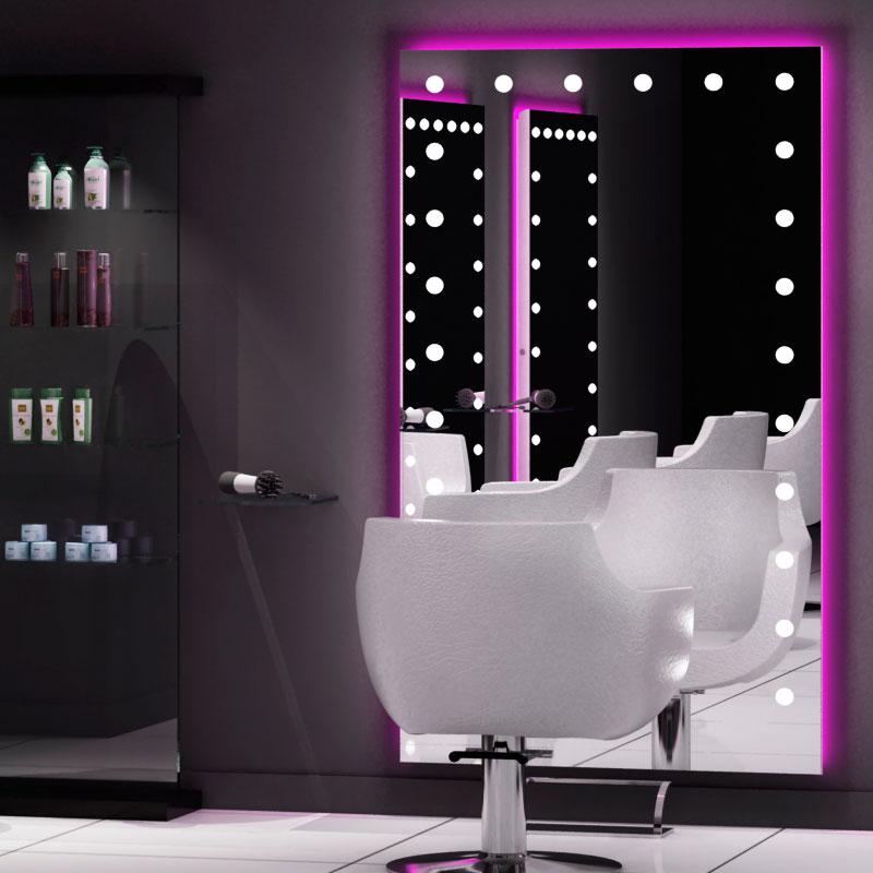 Specchi illuminati per salone parrucchiere e trucco