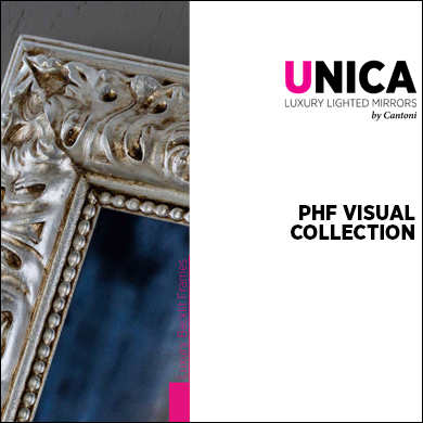 PHF Unica backlit panels with handmade wood and leather frames catalogue 2017