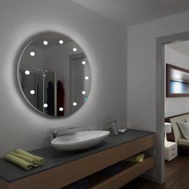 Specchio tondo I-light 12 luci per hotel