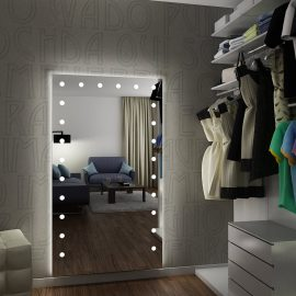 Full height lighted mirror