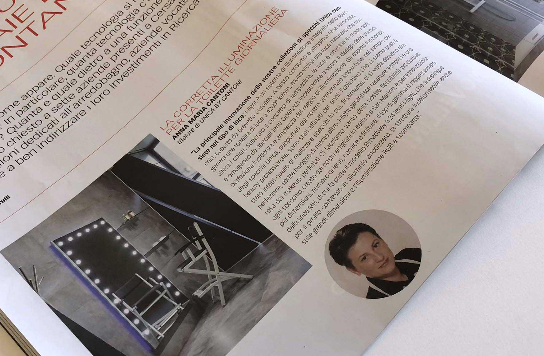 """La rivista specializzata""""Il bagno"""" intervista Anna M. Cantoni"""