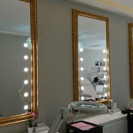 MF specchio con luci cornice oro per salone parrucchiere