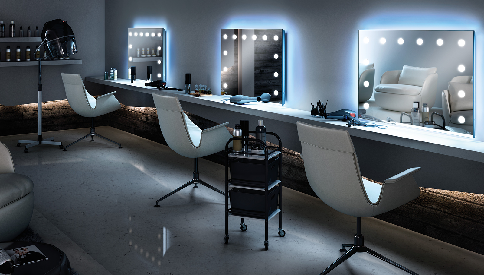 Lighted mirrors for beauty salons for Foto di saloni