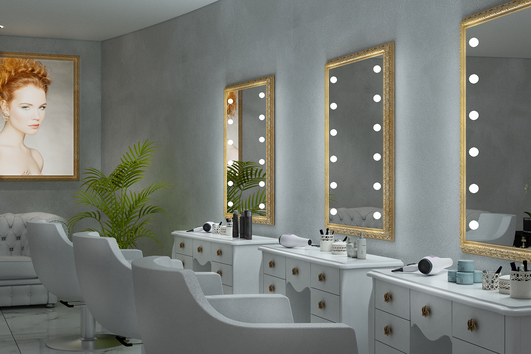 Salon Mirrors With Lights By Unica Luxury Lighted Mirrors