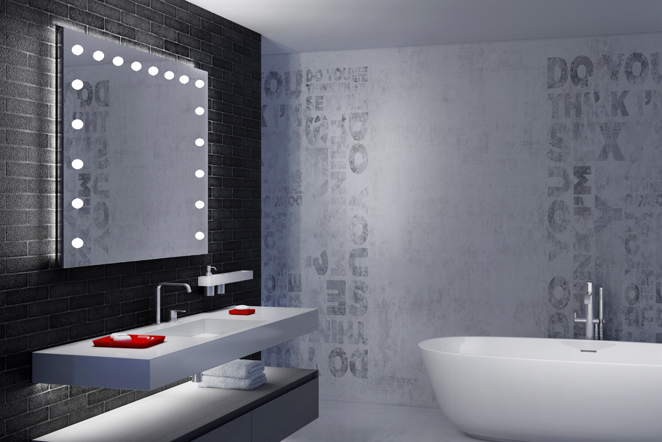 the best bathroom mirror with lights, rectangular, large, frameless with white backlit for minimal interior design