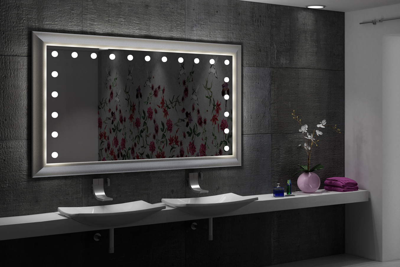rectangular framed illuminated wall mirror for double sink bathroom, classic marble white interior design