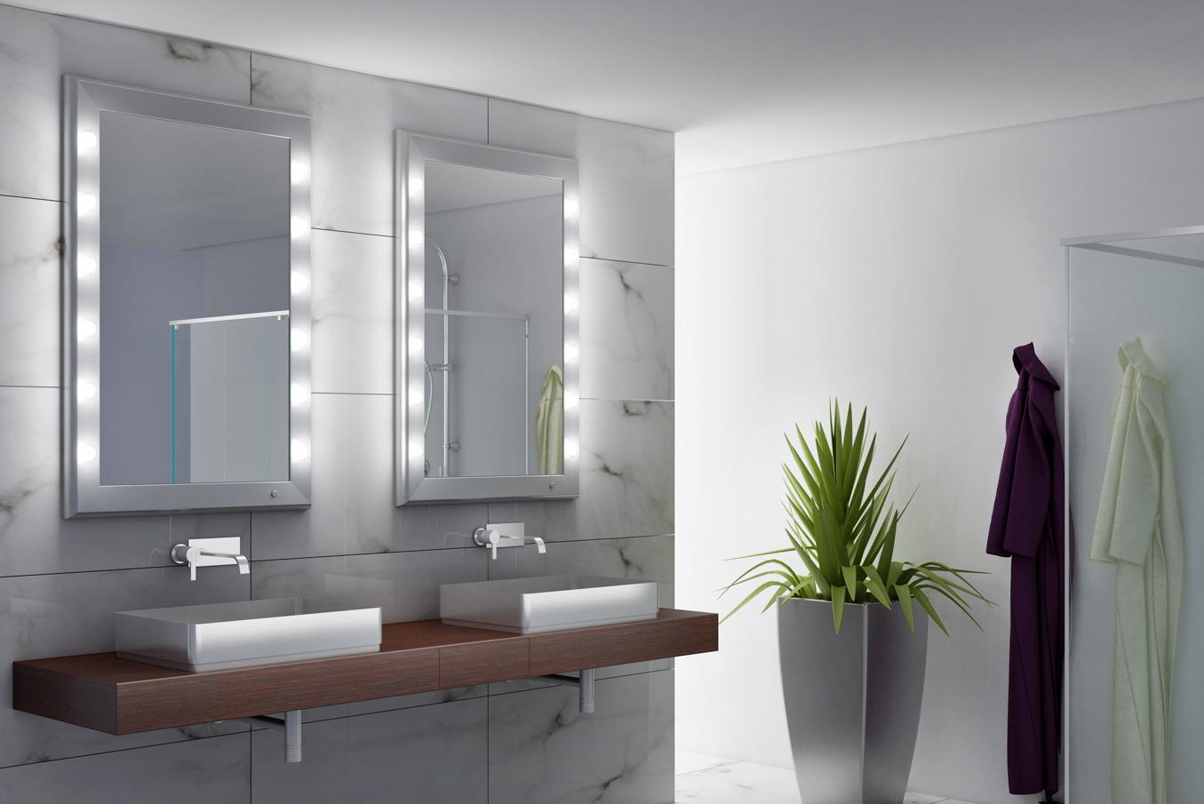 specchio rettangolare verticale con luci integrate nella cornice in alluminio personalizzata per  per bagno con doppio lavandino, marmo stile minimal bianco legno