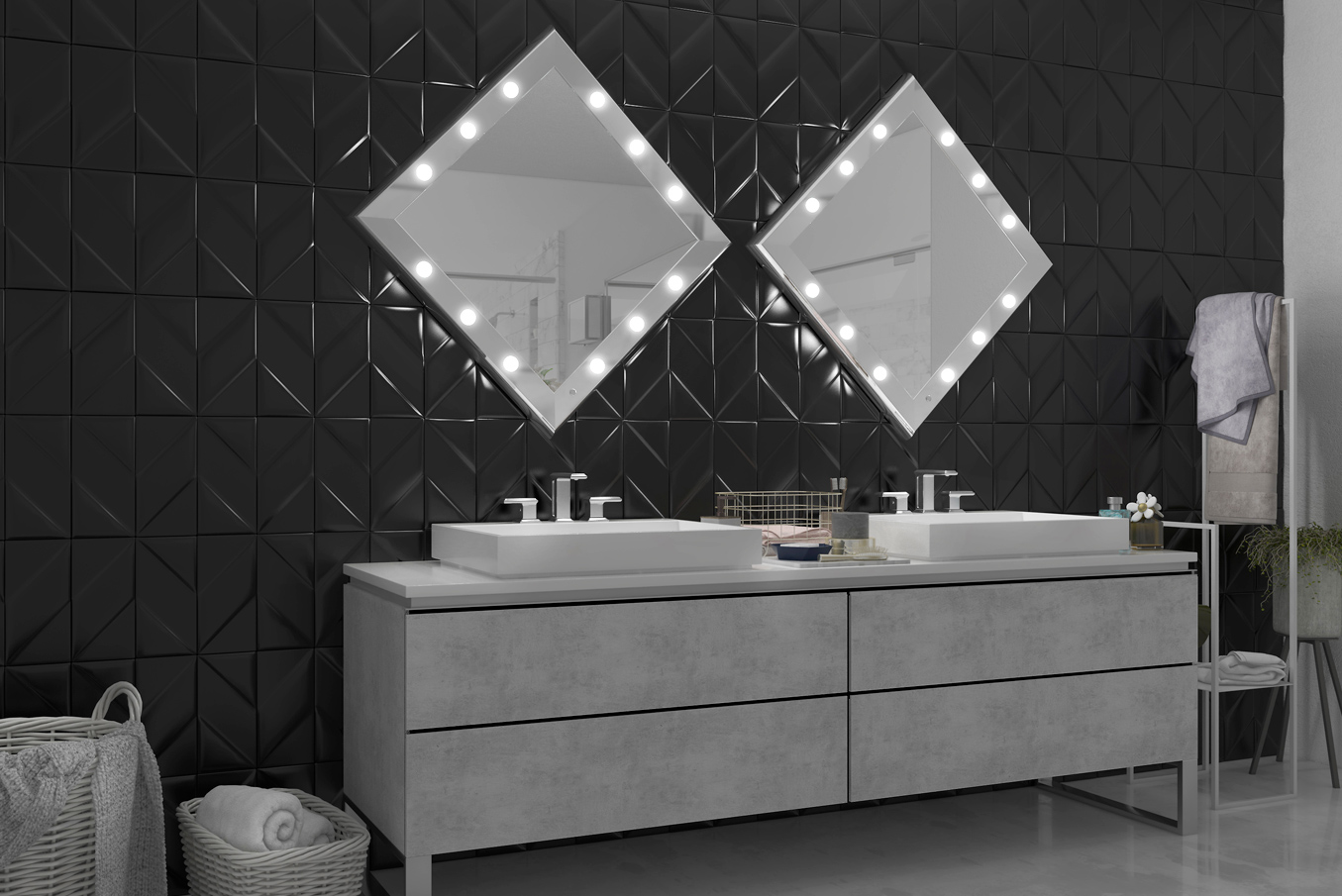 square and framed illuminated wall mirror for double sink bathroom, minimal modern interior design