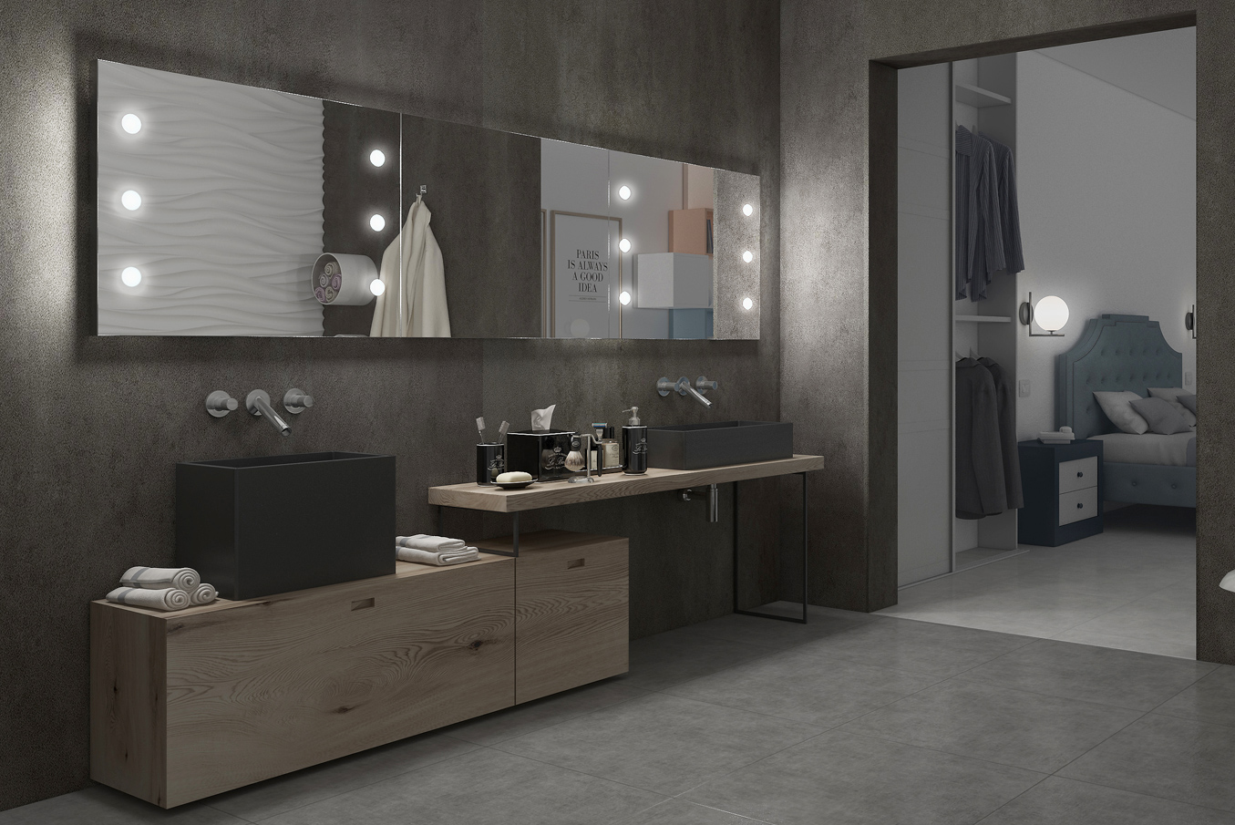 Rectangular and frameless illuminated large wall mirror for double sink bathroom, industrial modern interior design