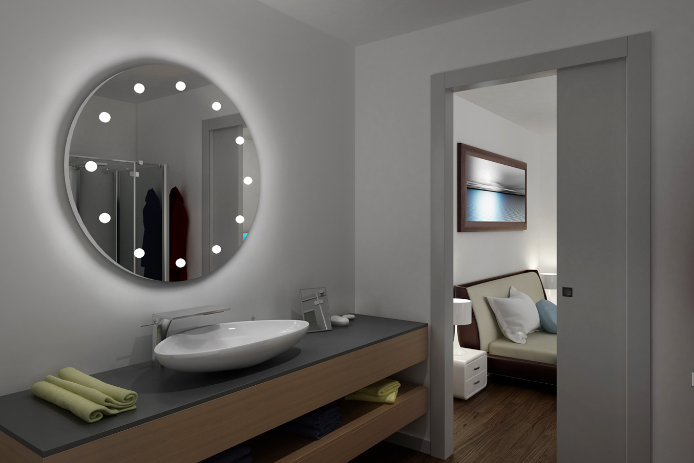 round frameless illuminated wall mirror with lights for wooden bathroom