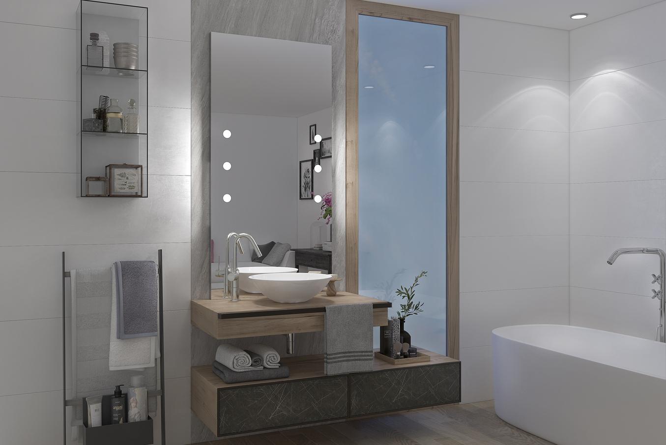 vertical rectangular frameless illuminated wall mirror for small bathroom, minimal modern wooden interior design