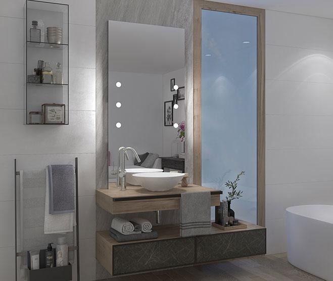 specchio bagno con luci linea MDE Unica by Cantoni