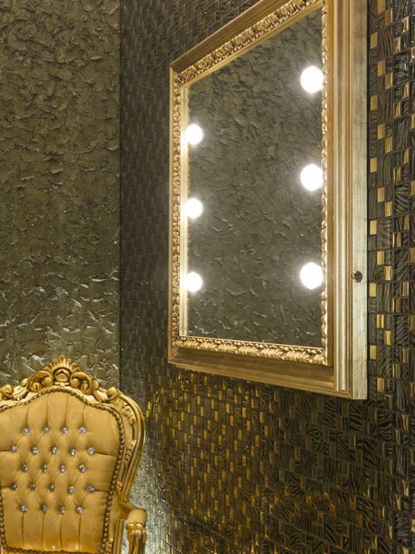 Specchio per ingresso MF cornice dorata in legno massello